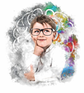 Applied Behavioral Analysis Therapy - Boy with glasses thinking
