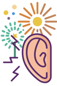 ear illustration with fireworks